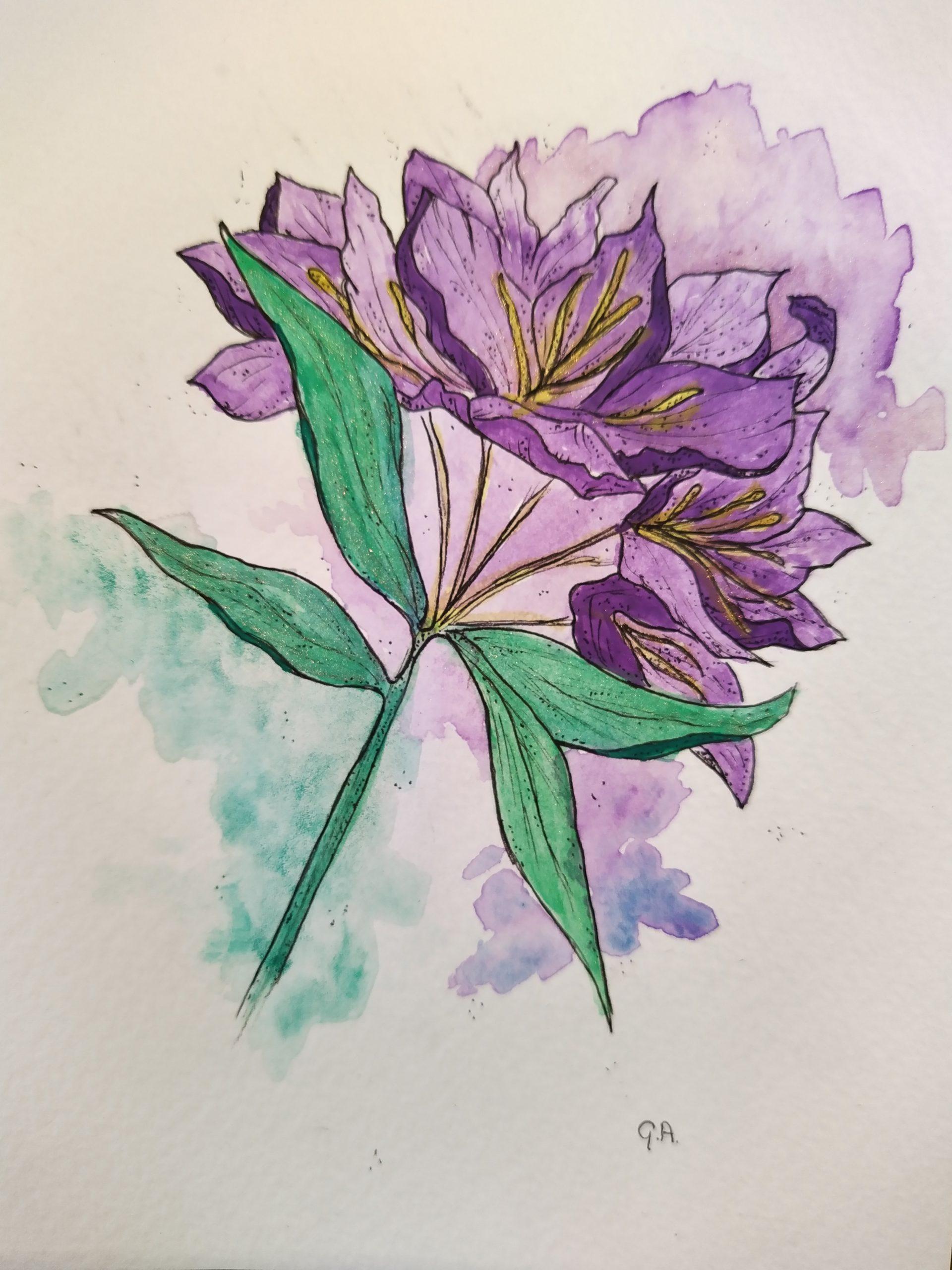 Waterverf schildering van de Rhododendron ponticum