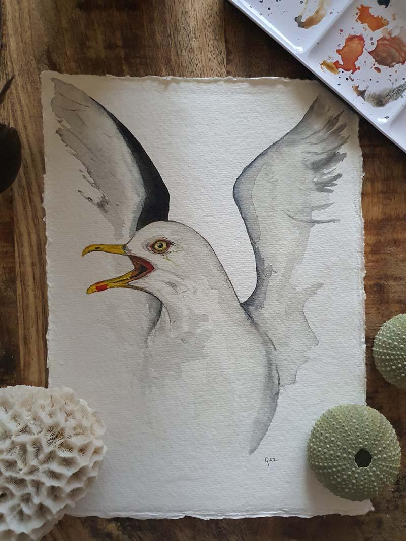 Waterverf schilderij kelten keltische maandvogel astrologie vogel zilvermeeuw