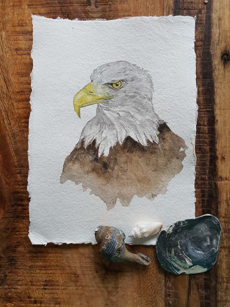 Waterverf schilderij kelten keltische maandvogel astrologie vogel arend
