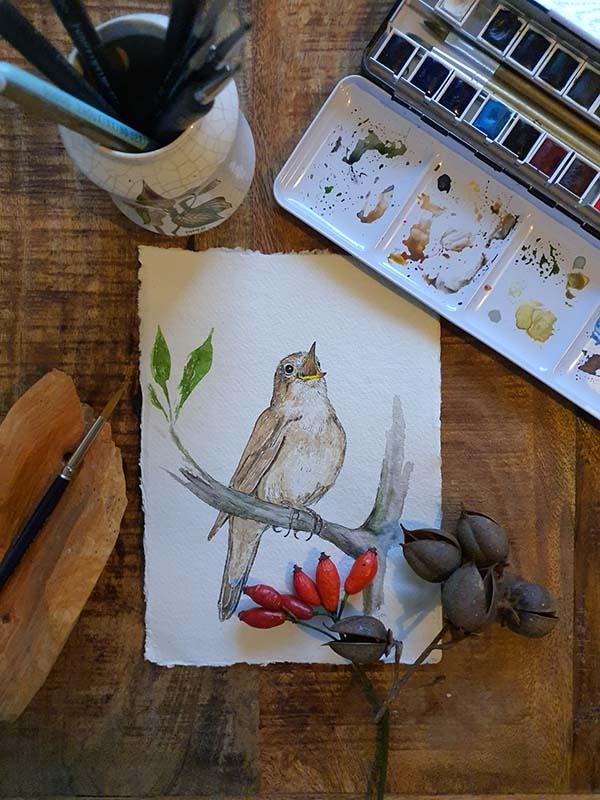 Waterverf schilderij kelten keltische maandvogel astrologie nachtegaal vogel