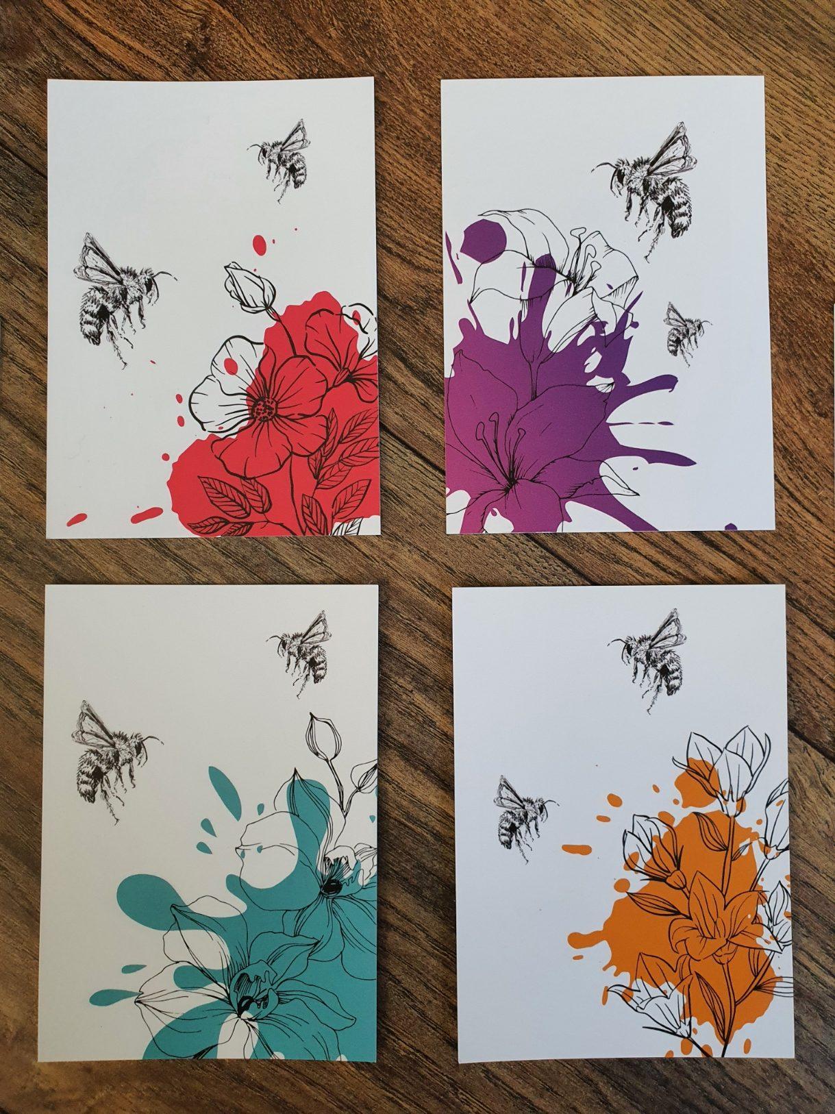 postkaarten ansichtkaarten bijen bloemen