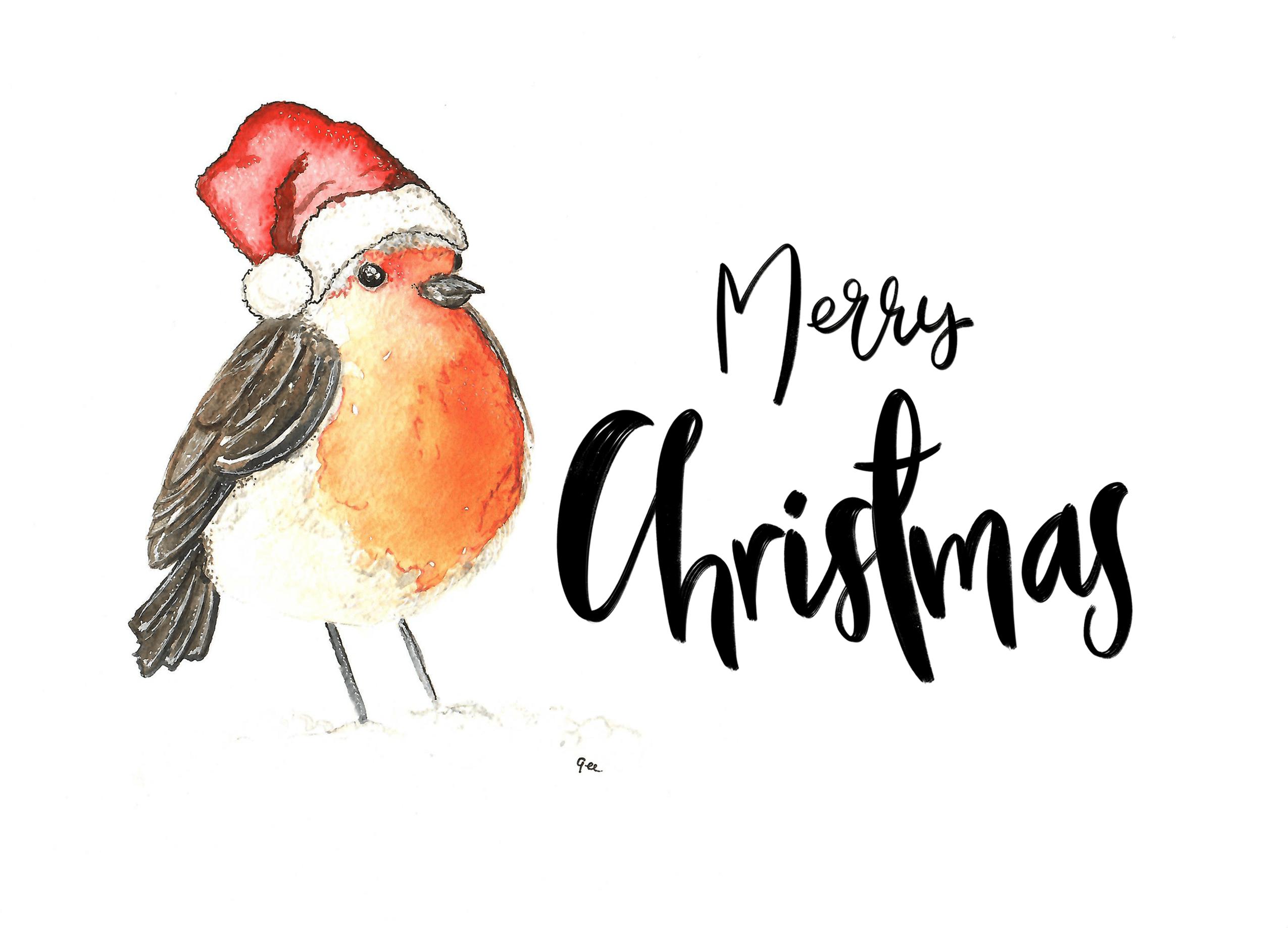 kerstkaart ansichtkaart postkaart print kerstmuts kerstmis kerst roodborstje vogel