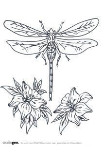 Gratis kleurplaten bloemen libellen