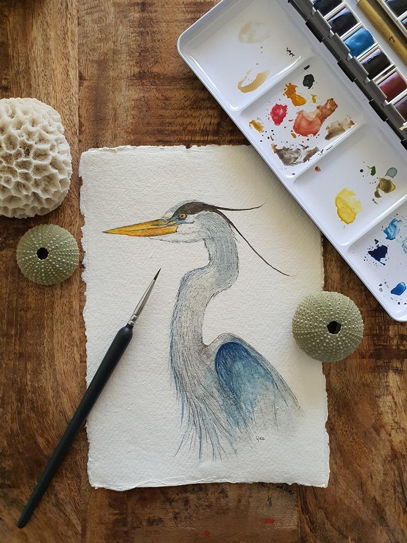 Waterverf schilderij kelten keltische maandvogel astrologie vogel reiger