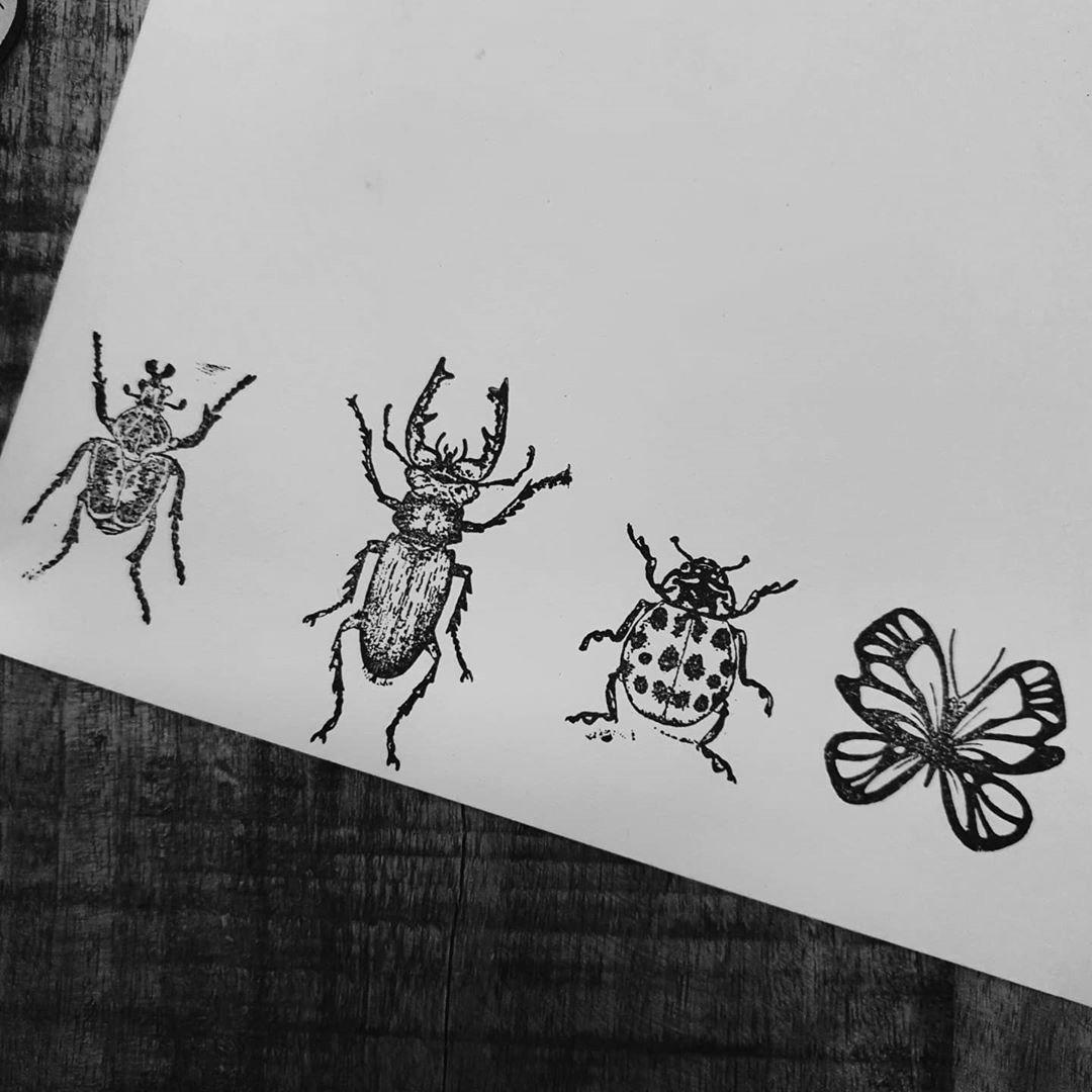 stempels durftestempelen vliegend hert kever lieveheersbeestje vlinder